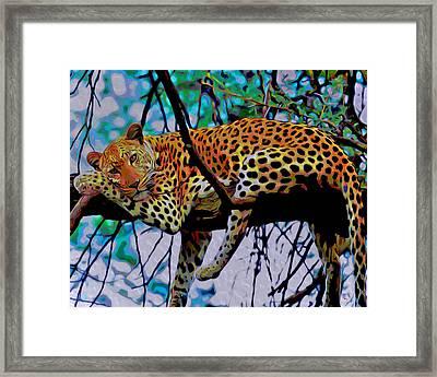 Loungin' Leopard Framed Print by  Fli Art
