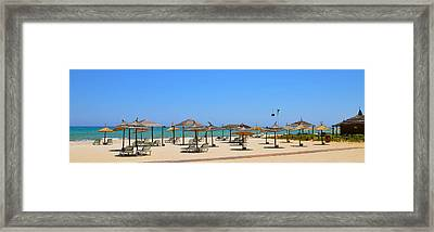 Lounging At The Beach Framed Print by Corinne Rhode