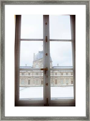 Louvre Museum Viewed Through A Window Framed Print by Panoramic Images