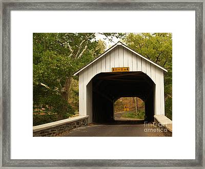 Loux Bridge And Sharp Left - Bucks County  Framed Print by Anna Lisa Yoder