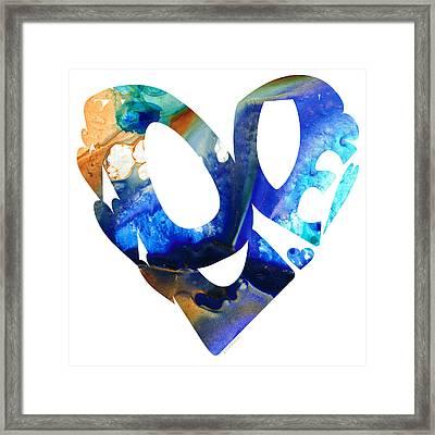 Love 4 - Heart Hearts Romantic Art Framed Print by Sharon Cummings