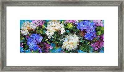 Love Abounds Hydrangeas Framed Print by Nancy Medina