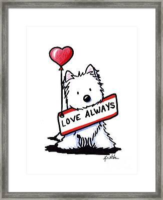 Love Always Westie Framed Print by Kim Niles