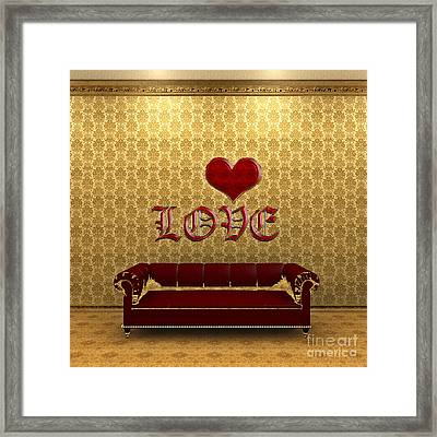 Love And Deep Red Sofa In A Gold Victorian Room Framed Print by Beverly Claire Kaiya