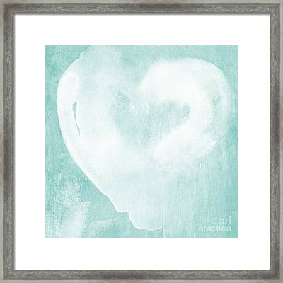 Love In Aqua Framed Print by Linda Woods