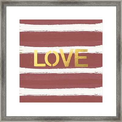 Love In Gold And Marsala Framed Print by Linda Woods