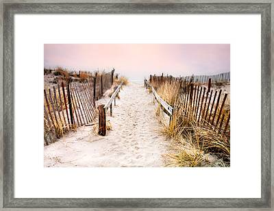 Love Is Everything - Footprints In The Sand Framed Print by Gary Heller