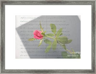 Love Letter Lyrics And Rose Framed Print by Ella Kaye Dickey