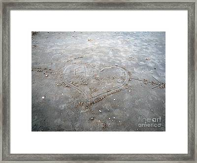 Love Letters In The Sand Framed Print by Sharon Burger