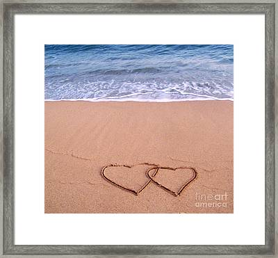 Heart In Sand Framed Print featuring the photograph Love On The Beach by Annie Slentz