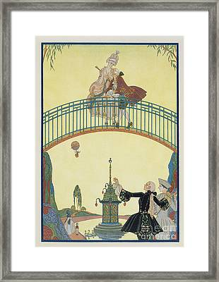 Love On The Bridge Framed Print by Georges Barbier