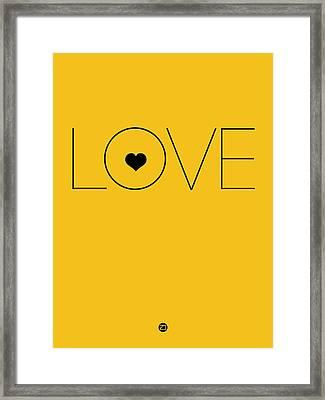 Love Poster Yellow Framed Print by Naxart Studio
