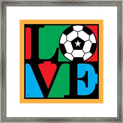 Love Soccer Framed Print by Gary Grayson