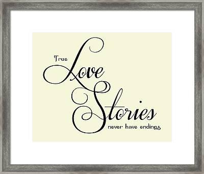 Love Stories Framed Print by Jaime Friedman