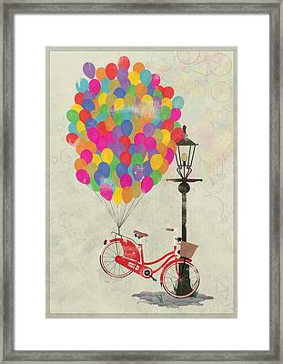 Love To Ride My Bike With Balloons Even If It's Not Practical. Framed Print by Andy Scullion