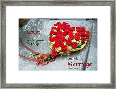 Love Wedding Marriage Funny Quote Framed Print by Matthias Hauser