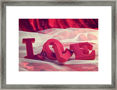 Love With Hearts Framed Print by Amanda Elwell