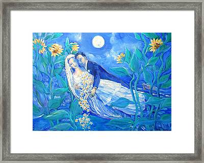 Lovers And Sunflowers  After Marc Chagall  Framed Print by Trudi Doyle