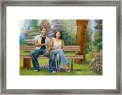 Lovers On A Bench Framed Print by Dominique Amendola