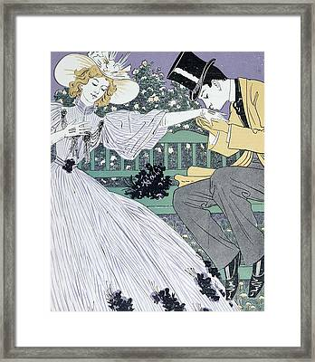 Lovers On A Bench Framed Print by Otto Eckmann