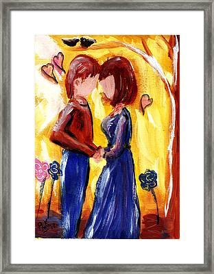 Lover's Unite Framed Print by Peg Holmes