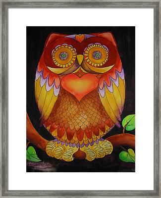 Loving Owl Framed Print by Lou Cicardo