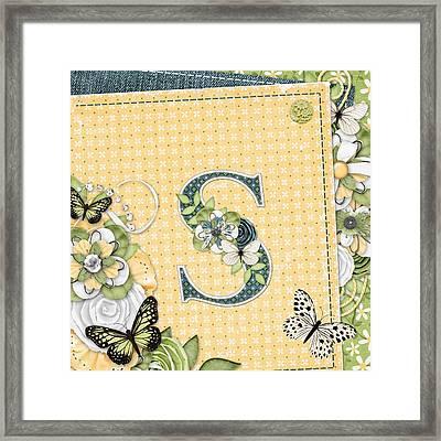 Loving Thoughts Monogram Letter S Framed Print by Debra  Miller