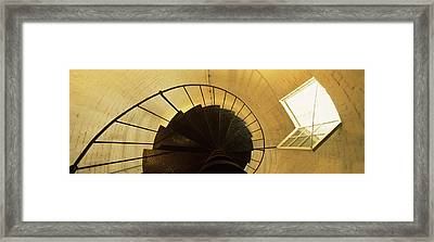 Low Angle View Of A Spiral Staircase Framed Print by Panoramic Images