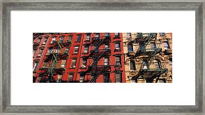 Low Angle View Of Fire Escapes Framed Print by Panoramic Images
