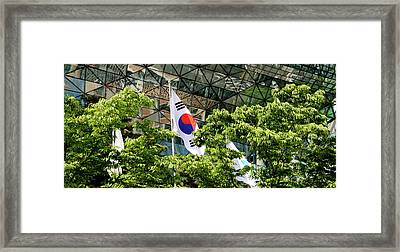 Low Angle View Of Flags And Trees Framed Print by Panoramic Images