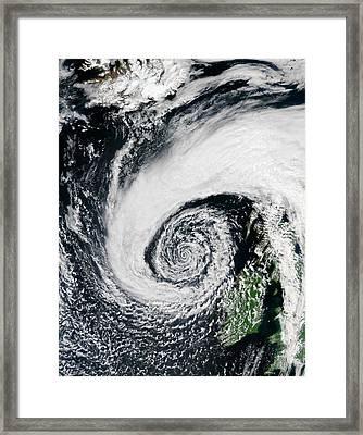 Low Pressure System Off Of Ireland Framed Print by Jeff Schmaltz, Modis Land Rapid Response Team, Nasa Gsfc