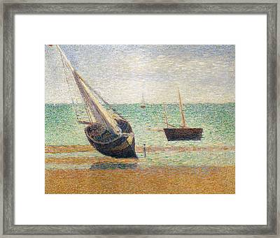 Low Tide At Grandcamp Framed Print by Georges Pierre Seurat