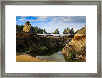 Low Tide At The Arches Framed Print by Inge Johnsson