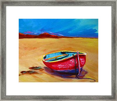 Low Tides - Landscape Of A Red Boat On The Beach Framed Print by Patricia Awapara
