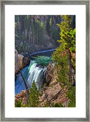 Lower Falls - Emerald Green Framed Print by Jeff Donald