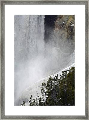 Lower Falls Of The Yellowstone Close-up In Spring Framed Print by Bruce Gourley