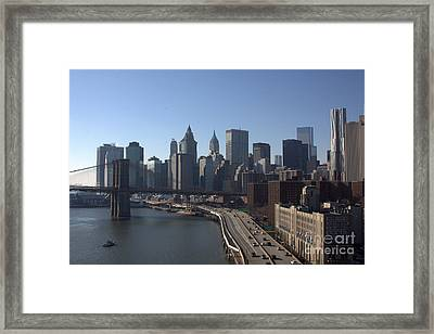 Lower Manhattan And The Brooklyn Bridge Framed Print by Steven Macanka
