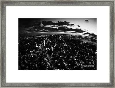 Lower Manhattan New York City Night Sunset Dark  Framed Print by Joe Fox