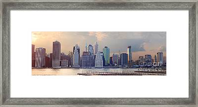 Lower Manhattan Panorama From Brooklyn Framed Print by Thomas Marchessault