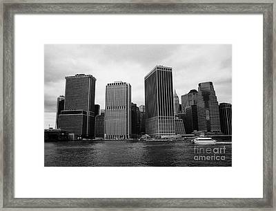 Lower Manhattan Shoreline And Skyline And Financial District Waterfront New York City Framed Print by Joe Fox