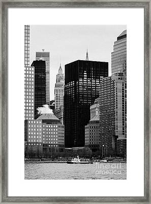 Lower Manhattan Shoreline And Skyline Waterfront New York City Framed Print by Joe Fox