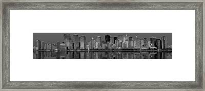 Lower New York City Skyline  Bw Framed Print by Susan Candelario