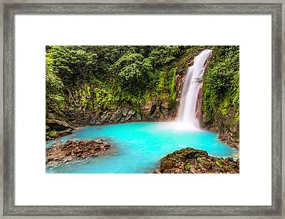 Lower Rio Celeste Waterfall Framed Print by Andres Leon