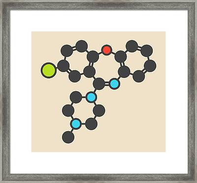 Loxapine Antipsychotic Drug Molecule Framed Print by Molekuul