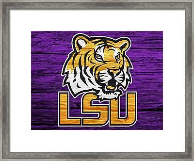 Lsu Tigers Barn Door Framed Print by Dan Sproul