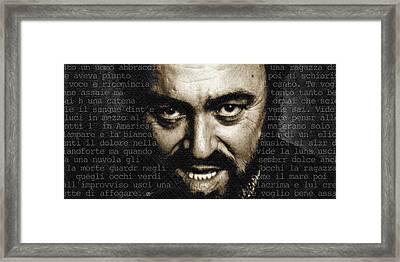 Luciano Pavarotti Horizontal Framed Print by Tony Rubino