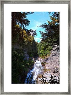 Lucifer Falls In Robert H. Treman State Park New York Framed Print by Paul Ge