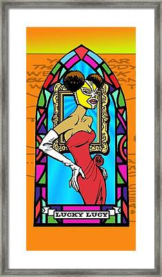 Lucky Lucy The Luchador Framed Print by Renee Reeser Zelnick