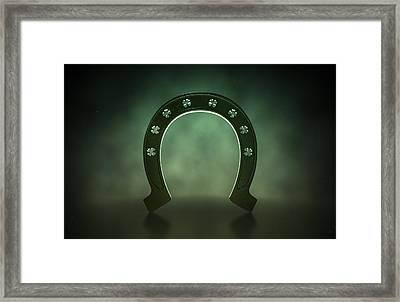 Lucky Shamrock Horseshoe Framed Print by Allan Swart
