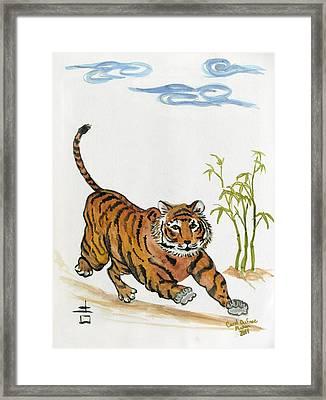 Lucky Tiger Framed Print by Carol Oufnac Mahan